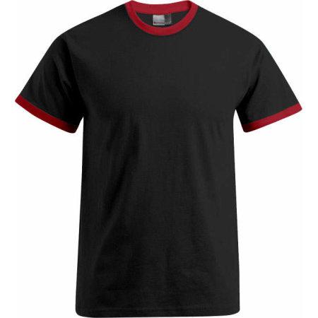 Men`s Contrast-T in Black Fire Red von Promodoro (Artnum: E3070