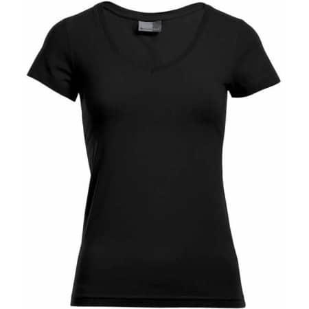 Women`s Slim Fit V-Neck-T in Black von Promodoro (Artnum: E3086