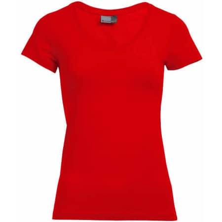 Women`s Slim Fit V-Neck-T in Fire Red von Promodoro (Artnum: E3086