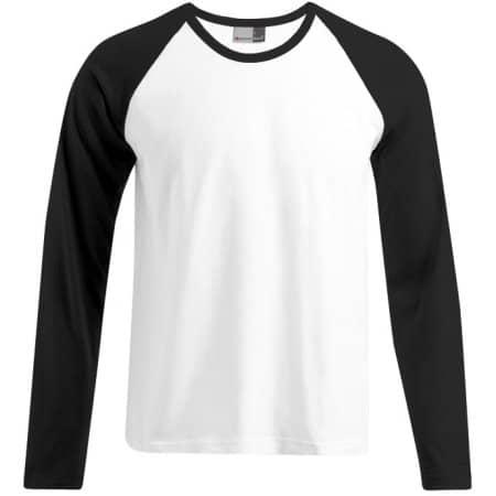 Men`s Baseball-T Longsleeve in White|Black von Promodoro (Artnum: E3490