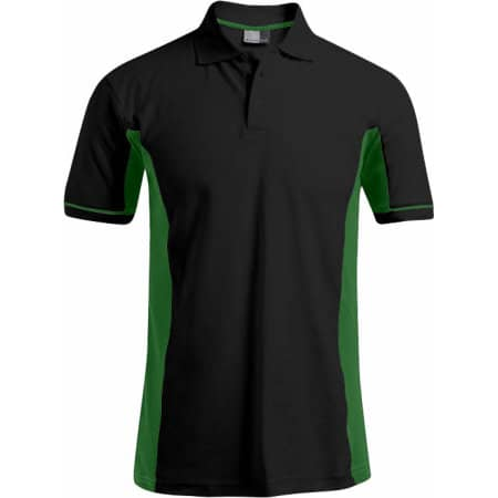 Men`s Function Contrast Polo in Black|Kelly Green von Promodoro (Artnum: E4520