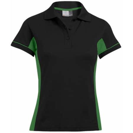 Women`s Function Contrast Polo in Black Kelly Green von Promodoro (Artnum: E4525