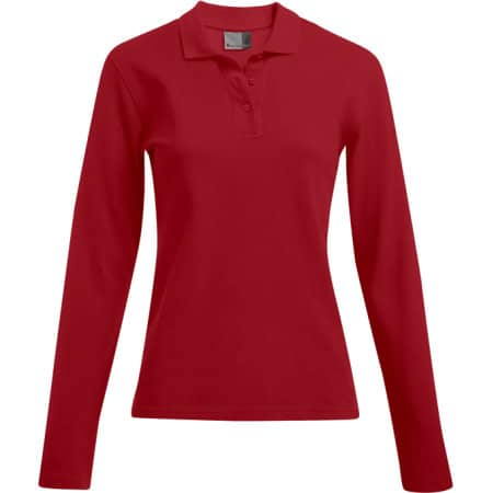 Women`s Heavy Polo Longsleeve in Fire Red von Promodoro (Artnum: E4605