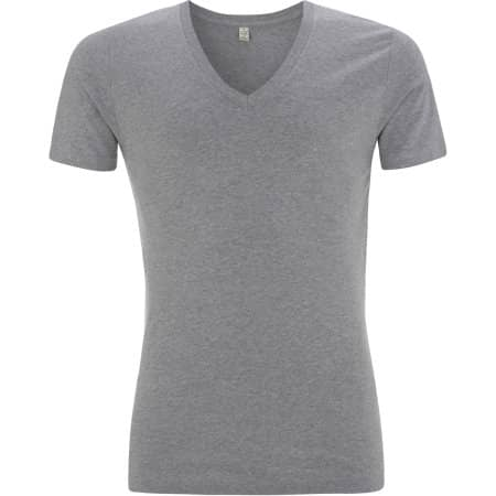 Earthpositive® Men's Organic V-Neck T-Shirt in Melange Grey von EarthPositive (Artnum: EP03V