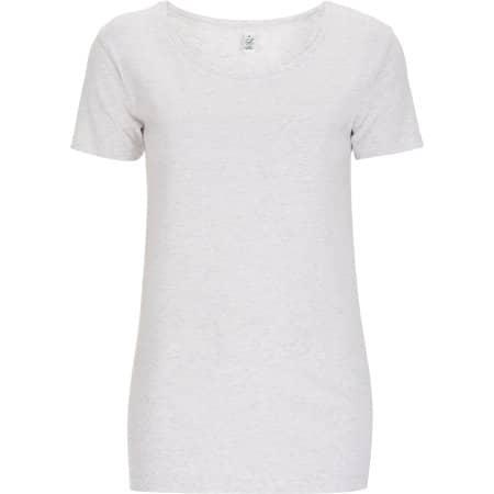 Women`s Open Neck T-Shirt in Melange White von EarthPositive (Artnum: EP09