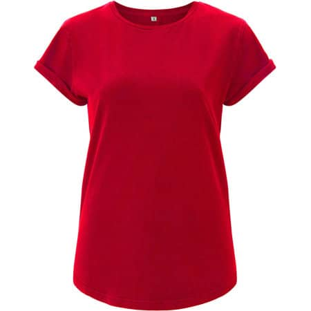 Women`s Rolled Up Sleeve Organic in Red von EarthPositive (Artnum: EP16