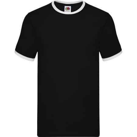 Ringer Tee in Black|White von Fruit of the Loom (Artnum: F159