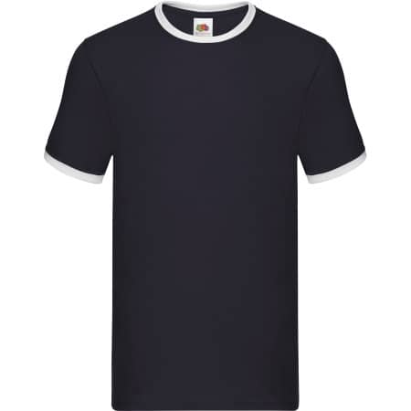 Ringer Tee in Navy|White von Fruit of the Loom (Artnum: F159