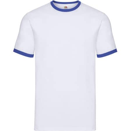 Ringer Tee in White|Royal Blue von Fruit of the Loom (Artnum: F159