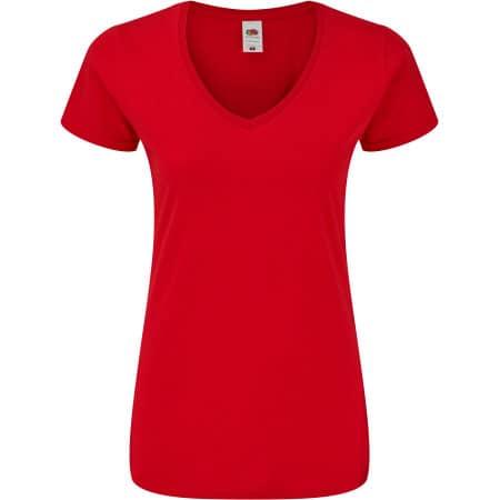 Ladies Iconic 150 V Neck T in Red von Fruit of the Loom (Artnum: F274
