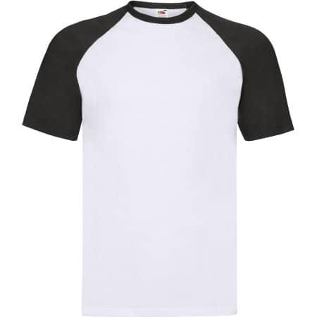Shortsleeve Baseball T in White|Black von Fruit of the Loom (Artnum: F295