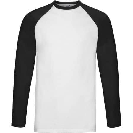 Long Sleeve Baseball T in White|Black von Fruit of the Loom (Artnum: F296