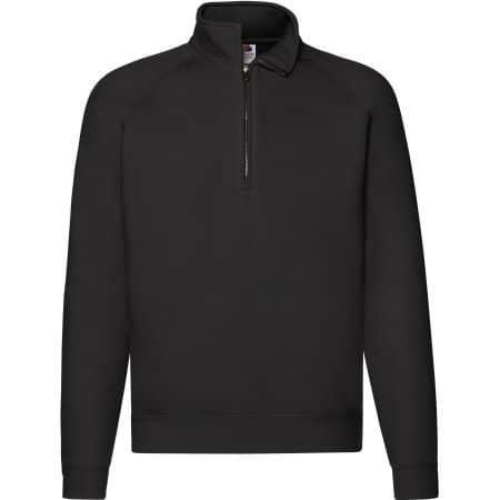 Premium Zip Neck Raglan Sweat in Black von Fruit of the Loom (Artnum: F382