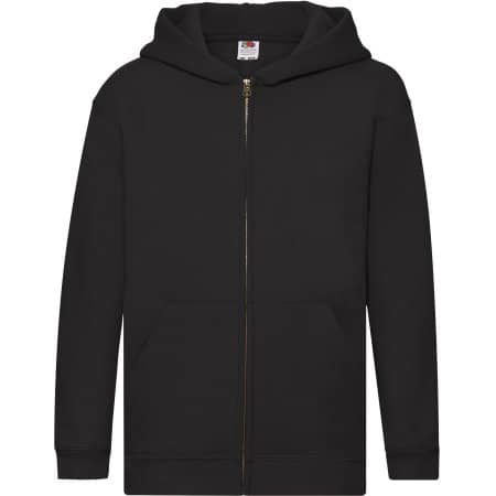 Premium Hooded Sweat Jacket Kids in Black von Fruit of the Loom (Artnum: F401K