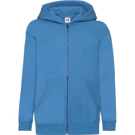 Classic Hooded Sweat Jacket Kids in Azure Blue von Fruit of the Loom (Artnum: F401NK