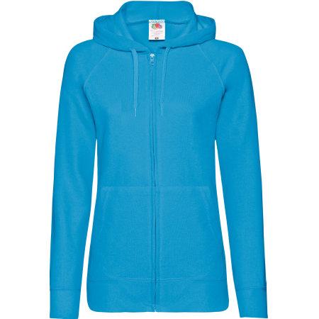 Lightweight Hooded Sweat Jacket Lady-Fit in Azure Blue von Fruit of the Loom (Artnum: F408