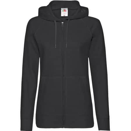 Lightweight Hooded Sweat Jacket Lady-Fit in Black von Fruit of the Loom (Artnum: F408