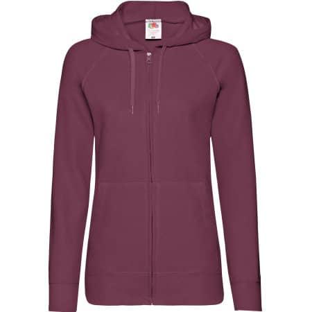 Lightweight Hooded Sweat Jacket Lady-Fit in Burgundy von Fruit of the Loom (Artnum: F408