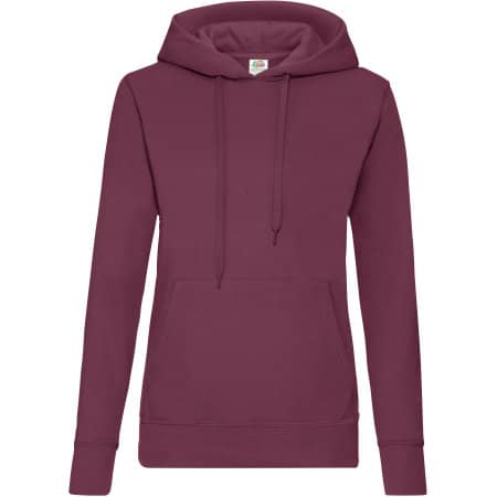 Classic Hooded Sweat Lady-Fit in Burgundy von Fruit of the Loom (Artnum: F409