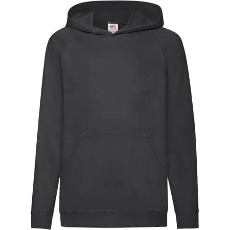 Lightweight Hooded Sweat Kids in Black von Fruit of the Loom (Artnum: F430K