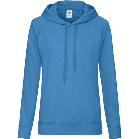 Lightweight Hooded Sweat Lady-Fit in Azure Blue von Fruit of the Loom (Artnum: F435