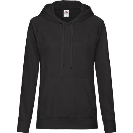 Lightweight Hooded Sweat Lady-Fit in Black von Fruit of the Loom (Artnum: F435