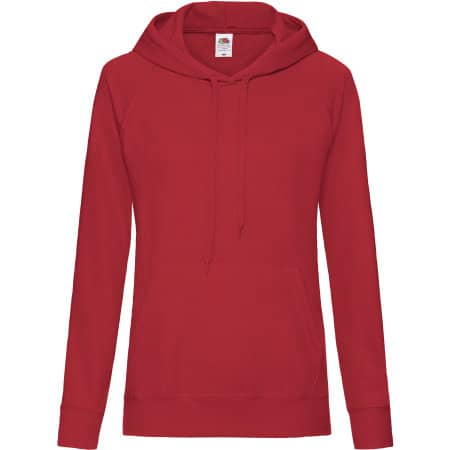 Lightweight Hooded Sweat Lady-Fit in Red von Fruit of the Loom (Artnum: F435