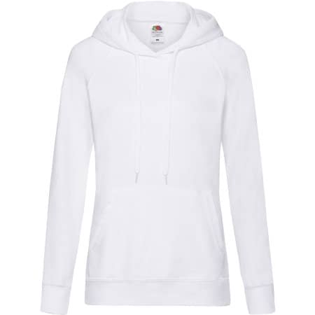Lightweight Hooded Sweat Lady-Fit in White von Fruit of the Loom (Artnum: F435
