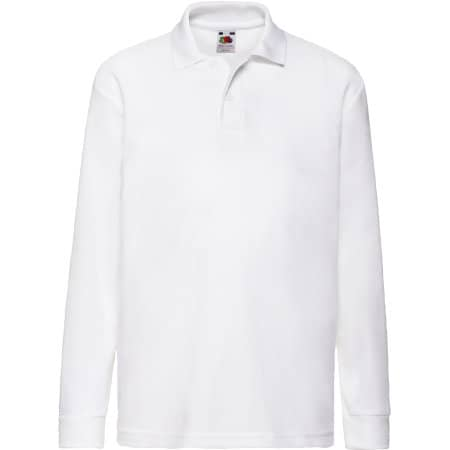 Long Sleeve 65/35 Polo Kids in White von Fruit of the Loom (Artnum: F504K