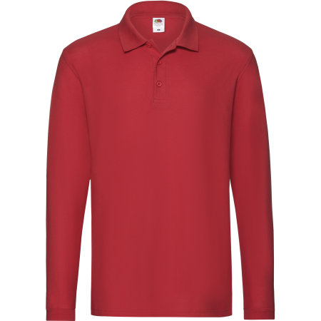 Premium Long Sleeve Polo in Red von Fruit of the Loom (Artnum: F541N