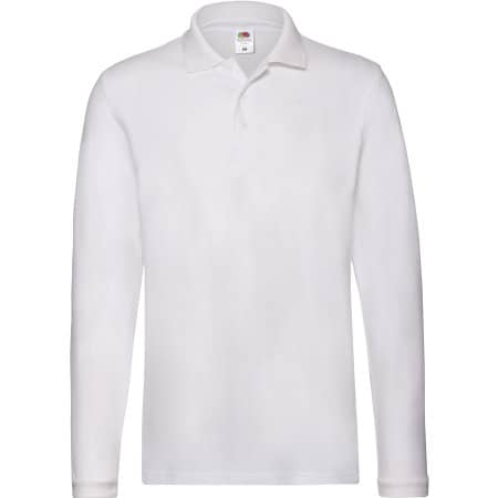 Premium Long Sleeve Polo in White von Fruit of the Loom (Artnum: F541N