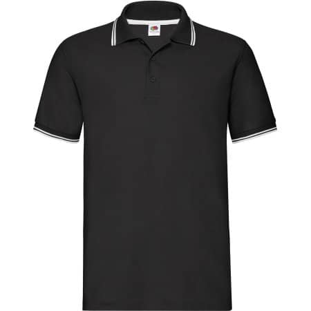 Tipped Pique Polo in Black|White von Fruit of the Loom (Artnum: F586N