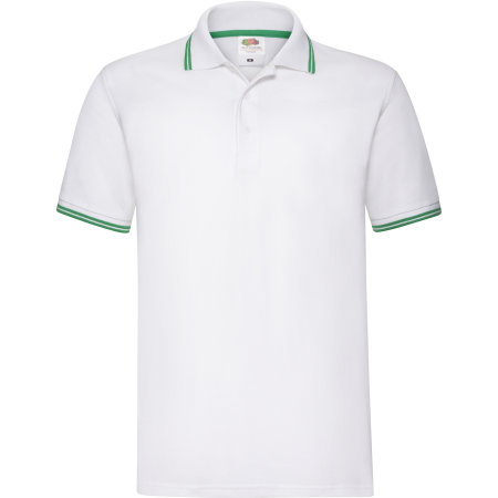 Tipped Pique Polo in White|Kelly Green von Fruit of the Loom (Artnum: F586N