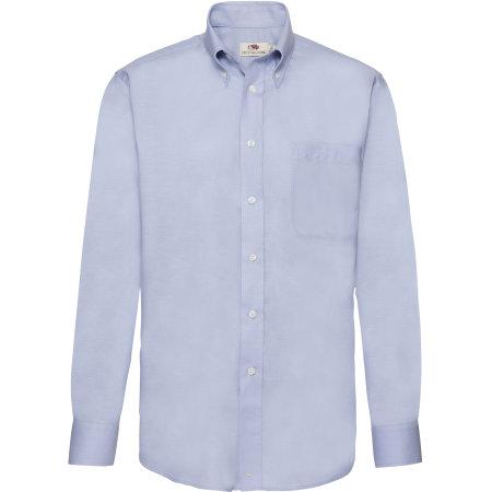 Men`s Long Sleeve Oxford Shirt in Oxford Blue von Fruit of the Loom (Artnum: F600