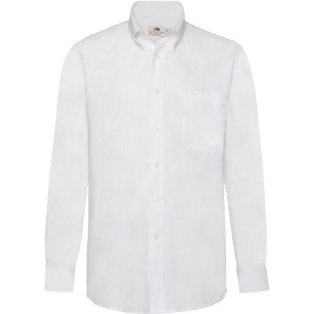 Men`s Long Sleeve Oxford Shirt in White von Fruit of the Loom (Artnum: F600
