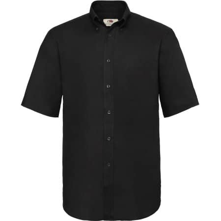 Men`s Short Sleeve Oxford Shirt in Black von Fruit of the Loom (Artnum: F601