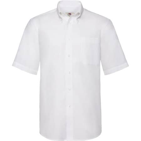 Men`s Short Sleeve Oxford Shirt in White von Fruit of the Loom (Artnum: F601