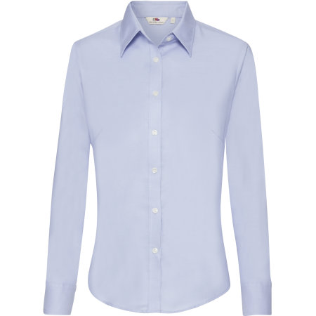 Long Sleeve Oxford Shirt Lady-Fit in Oxford Blue von Fruit of the Loom (Artnum: F700