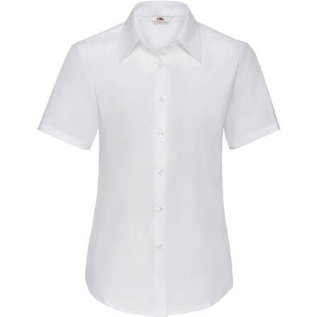 Short Sleeve Oxford Shirt Lady-Fit in White von Fruit of the Loom (Artnum: F701