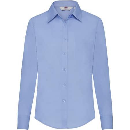 Long Sleeve Poplin Shirt Lady-Fit in Mid Blue von Fruit of the Loom (Artnum: F702