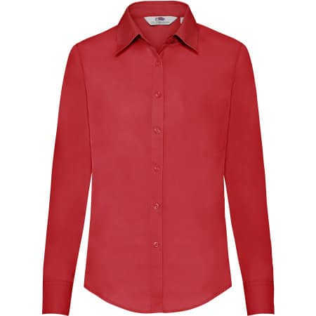 Long Sleeve Poplin Shirt Lady-Fit in Red von Fruit of the Loom (Artnum: F702