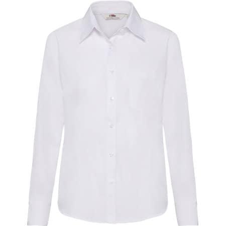 Long Sleeve Poplin Shirt Lady-Fit in White von Fruit of the Loom (Artnum: F702