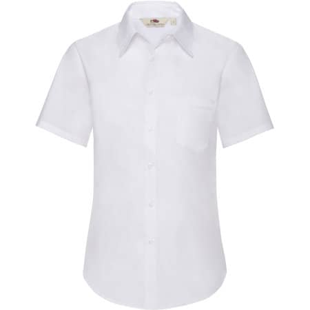 Short Sleeve Poplin Shirt Lady-Fit in White von Fruit of the Loom (Artnum: F703