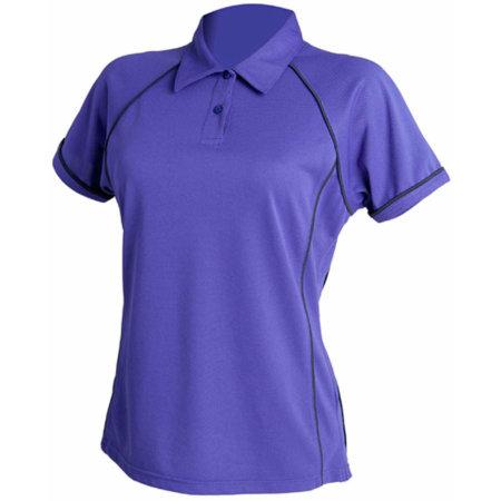 Ladies` Piped Performance Polo in Purple Navy von Finden+Hales (Artnum: FH371