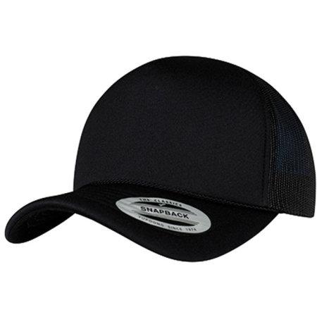 Foam Trucker Cap Curved Visor in Black|Black|Black von FLEXFIT (Artnum: FX6005FC
