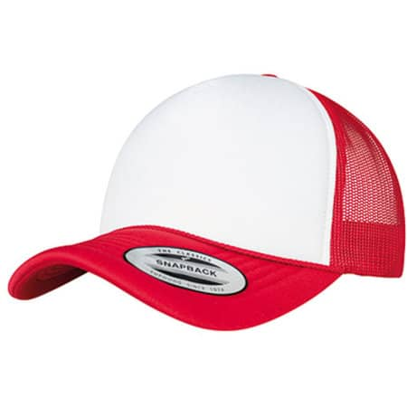 Foam Trucker Cap Curved Visor in Red|White|Red von FLEXFIT (Artnum: FX6005FC