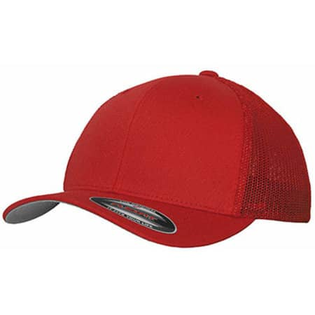Mesh Trucker Cap in Red von FLEXFIT (Artnum: FX6511