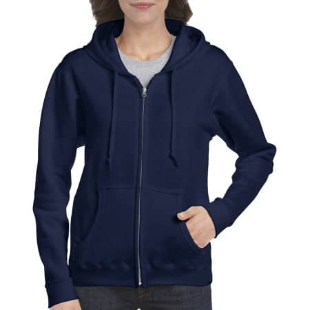 Heavy Blend™ Ladies` Full Zip Hooded Sweatshirt in Navy von Gildan (Artnum: G18600FL