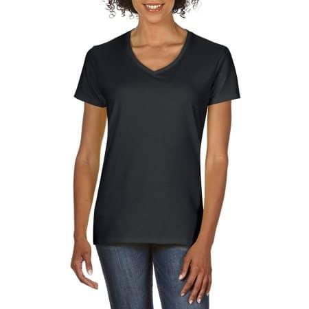 Premium Cotton® Ladies` V-Neck T-Shirt in Black von Gildan (Artnum: G4100VL