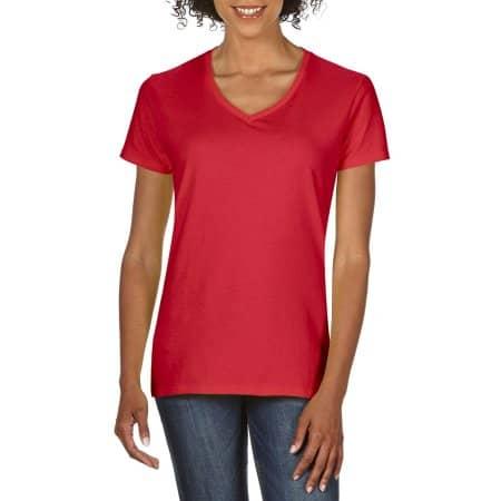 Premium Cotton® Ladies` V-Neck T-Shirt in Red von Gildan (Artnum: G4100VL